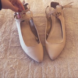 Pointed toe strap blush/nude flat Charlotte Russe